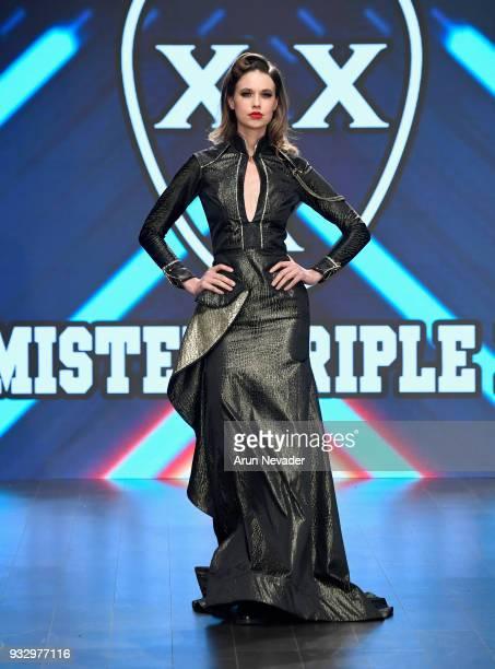 "Model Egith ""Iggy"" walks the runway wearing Mister Triple X at Los Angeles Fashion Week Powered by Art Hearts Fashion LAFW FW/18 10th Season..."