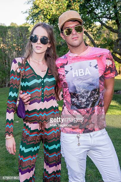 Model Eleanor Lambert and Designer Andrew Warren attend Armarium's Missoni Launch With Ottavio Missoni at the home of Marigay McKee and Bill Ford on...