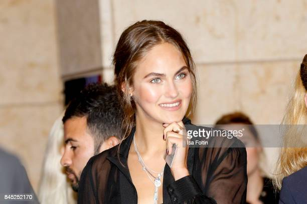 Model Elena Carriere attends a QVC event during the Vogue Fashion's Night Out on September 8 2017 in duesseldorf Germany