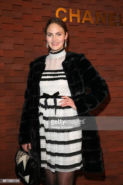 Model Elena Carriere during the Chanel 'Trombinoscope' Collection des Metiers d'Art 2017/18 photo call at Elbphilharmonie on December 6 2017 in...