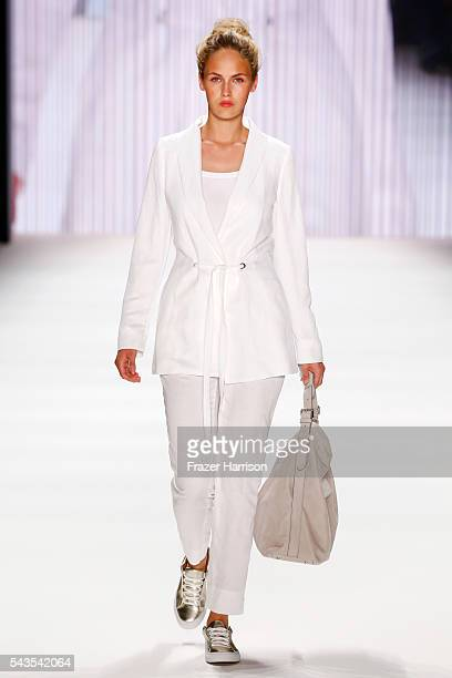 Model Elena Carriere walks the runway at the Minx by Eva Lutz show during the MercedesBenz Fashion Week Berlin Spring/Summer 2017 at Erika Hess...