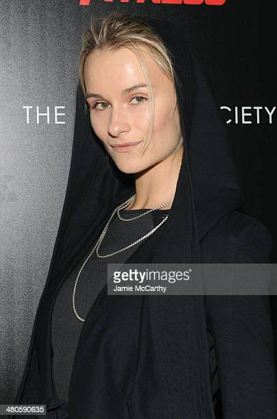 Model Elena Foley attends The Cinema Society with Muscle Fitness screening of Open Road Films' Sabotage at AMC Loews Lincoln Square on March 25 2014...