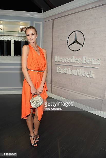 Model Elena Kurnosova attends the MercedesBenz Star Lounge during MercedesBenz Fashion Week Spring 2014 at Lincoln Center on September 5 2013 in New...
