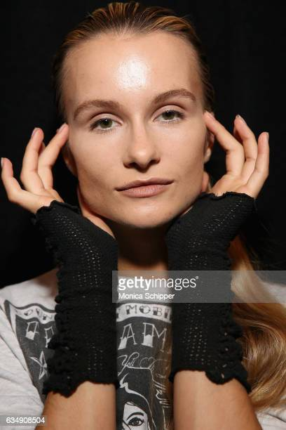 Model Elena Kurnosova poses backstage for the Marcel Ostertag collection during New York Fashion Week The Shows at Gallery 3 Skylight Clarkson Sq on...