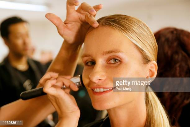 Model Elena Kurnosova prepares backstage for Afffair S/S20 during New York Fashion Week The Shows at Gallery II at Spring Studios on September 05...