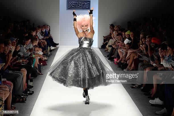 Model Elena Kurnosova walks the runway at the Betsey Johnson fashion show during MercedesBenz Fashion Week Spring 2014 at The Studio at Lincoln...