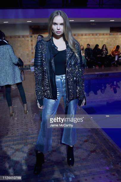 Model Elena Matei attends the Cynthia Rowley front row during New York Fashion Week The Shows on February 12 2019 in New York City