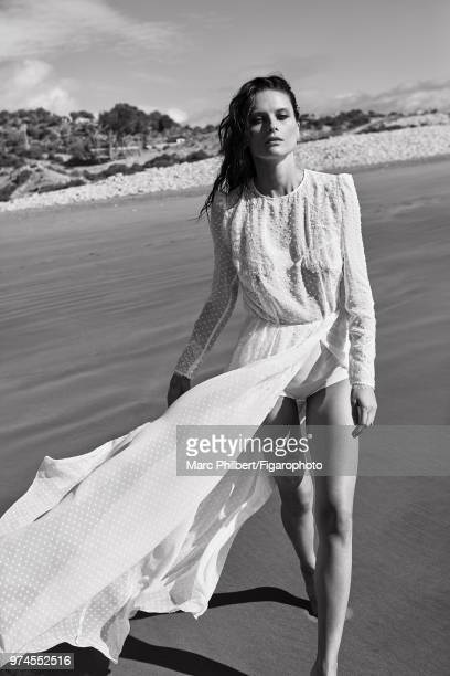 Model Elena Melnik poses at a fashion shoot for Madame Figaro on November 28 2017 in Taghazout Morocco Dress by Elisabetta Franchi PUBLISHED IMAGE...