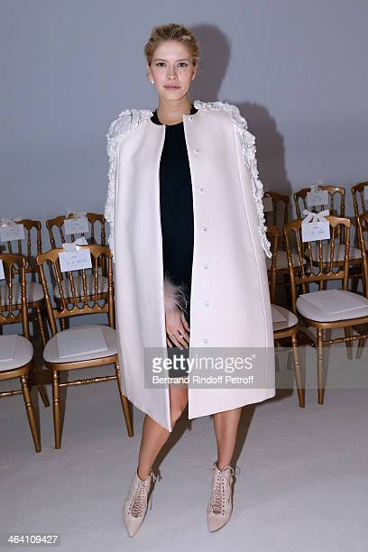 Model Elena Perminova attends the Giambattista Valli show as part of Paris Fashion Week Haute Couture Spring/Summer 2014 on January 20 2014 in Paris...