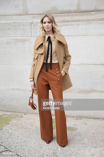 Model Elena Perminova wears all Chloe on day 3 of Paris Haute Couture Fashion Week Spring/Summer 2015 on January 27 2015 in Paris France