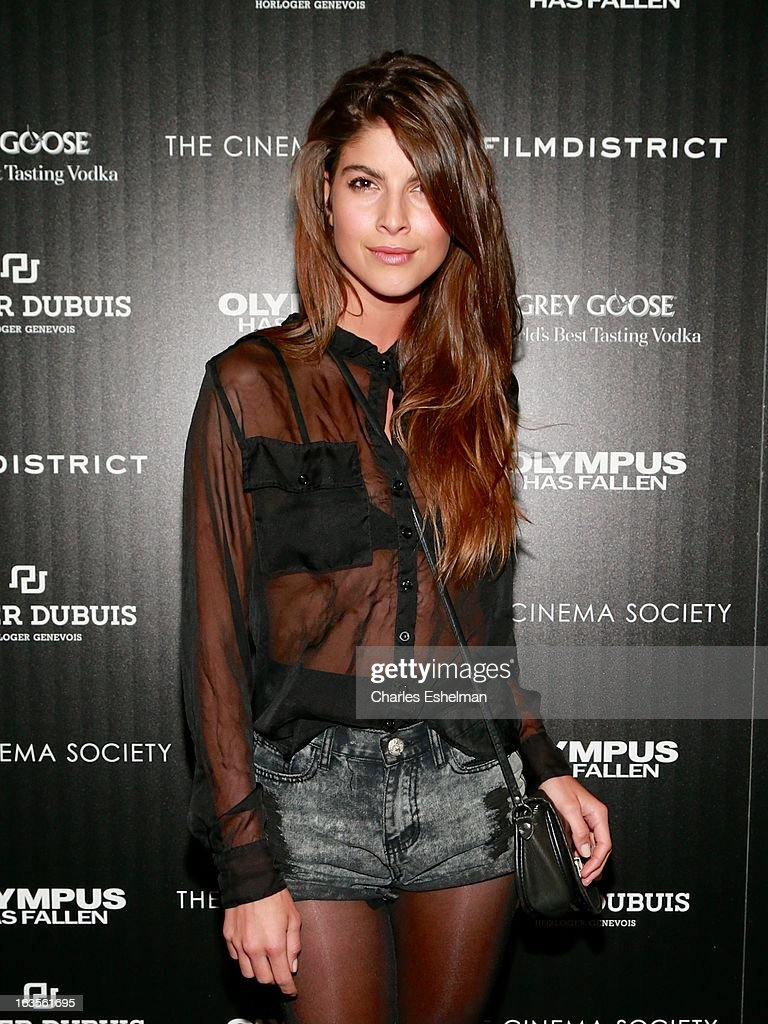 Model Eleni Tsavousis attends The Cinema Society with Roger Dubuis and Grey Goose screening of FilmDistrict's 'Olympus Has Fallen' at the Tribeca Grand Screening Room on March 11, 2013 in New York City.