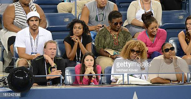 Model Elio Pis Oracene Price and Isha Price are sighted the Venus Williams vs Angelique Kerber match at the US Open at USTA Billie Jean King National...