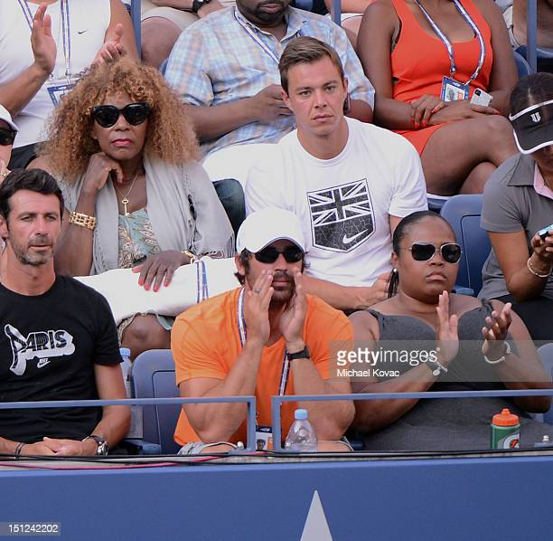 Model Elio Pis Oracene Price and Isha Price are sighted watching the Venus Williams vs Angelique Kerber tennis match at the US Open at USTA Billie...