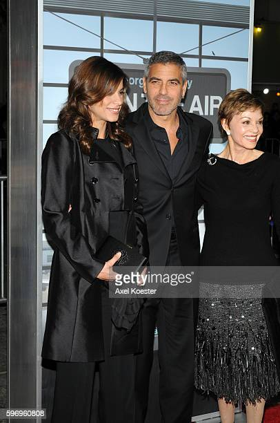 Model Elisabetta Canalis actor George Clooney and his mother Nina Bruce Clooney arrive to the Los Angeles premiere of Paramount Picture's 'Up In The...