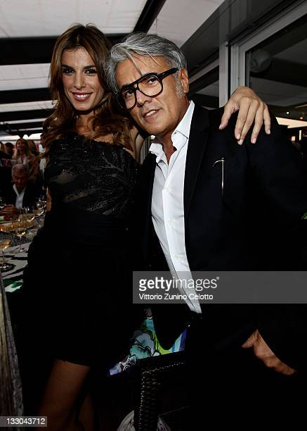 Model Elisabetta Canalis and Designer Giuseppe Zanotti attend the Cavalli Boutique Opening during the 64th Annual Cannes Film Festival on May 18 2011...