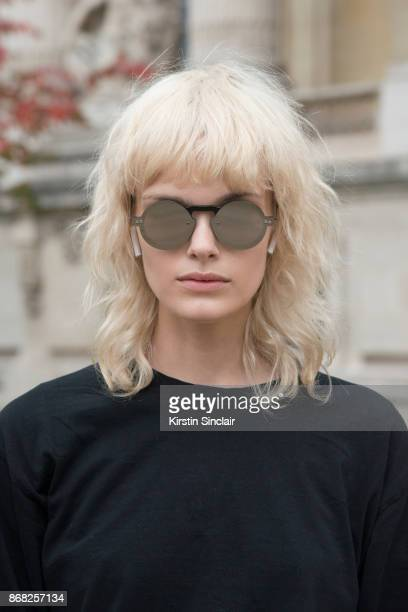 Model Elise Agee wears a Forever21 sweater day 3 of Paris Womens Fashion Week Spring/Summer 2018 on September 28 2017 in Paris France