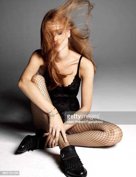Model poses at a fashion shoot for Madame Figaro on September 19 2017 in Paris France Body earring bangles tights shoes PUBLISHED IMAGE CREDIT MUST...