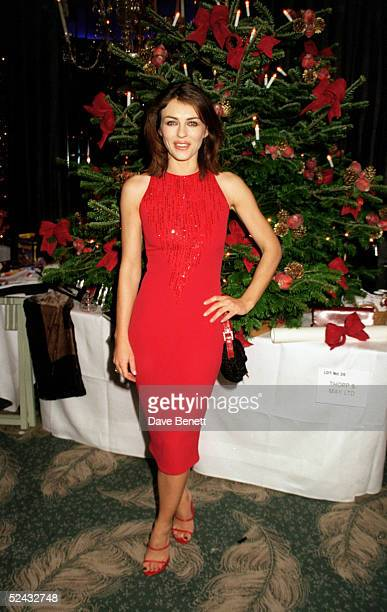 Model Elizabeth Hurley at the Haven Trust Christmas Tree Auction held at the Dorchester Hotel on December 8 1998 in London