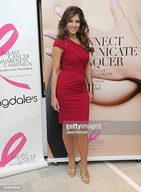 Model Elizabeth Hurley attends the kick off of Breast Cancer Awareness Month with The Estse Lauder Companies and Bloomingdale's benefiting The Breast...