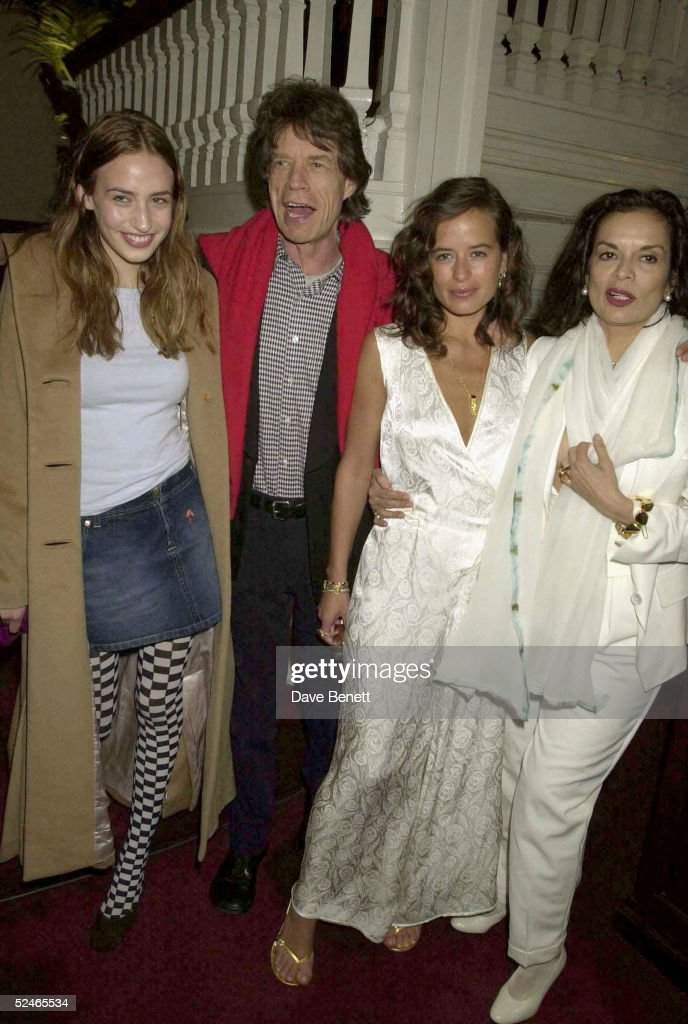 Model Elizabeth Jagger, Rolling Stones singer Mick Jagger, jewellery designer Jade Jagger and her mother Bianca Jagger at an Asprey's party launching their partnership with Jade Jagger held on February 23, 2001 in London. (Photo by Dave Benett/Getty Images).