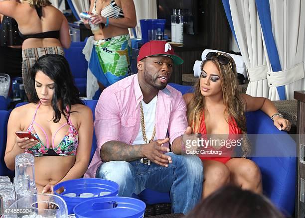 Model Elizabeth Ruiz rapper Curtis 50 Cent Jackson and model Jasmin Cadavid attend the Sapphire Pool Day Club on May 23 2015 in Las Vegas Nevada
