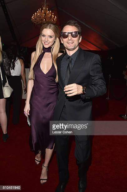 Model Elle Evans and musician Matt Bellamy of Muse attend The 58th GRAMMY Awards at Staples Center on February 15 2016 in Los Angeles California