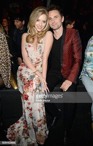 Model Elle Evans and recording artist Matt Bellamy of Muse in Saint Laurent by Hedi Slimane attend Saint Laurent at the Palladium on February 10 2016...