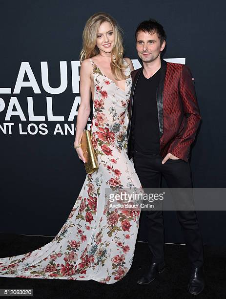 Model Elle Evans and recording artist Matthew Bellamy of Muse arrive at SAINT LAURENT At The Palladium at Hollywood Palladium on February 10 2016 in...