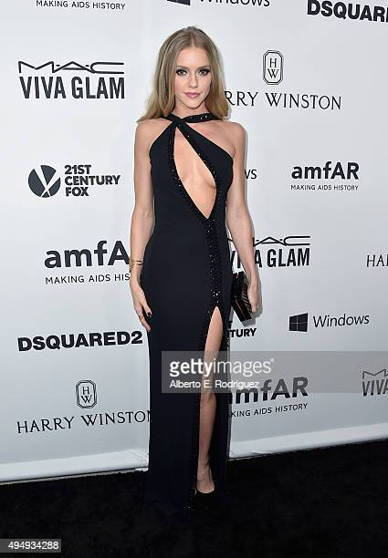 Model Elle Evans attends amfAR's Inspiration Gala Los Angeles at Milk Studios on October 29 2015 in Hollywood California