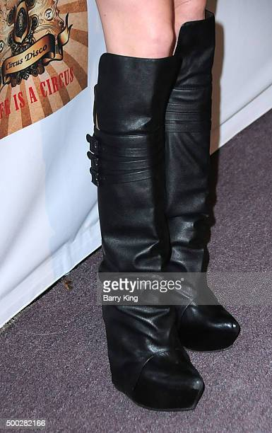 Model Elle Evans shoe detail attends the fundraising event to save circus animals of Mexico honoring Tippi Hedren and The Roar Foundation at Circus...