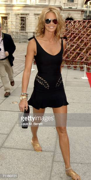 Model Elle Macpherson arrives for the champagne reception launching the world's oldest and largest open art competition and exhibition at the Royal...