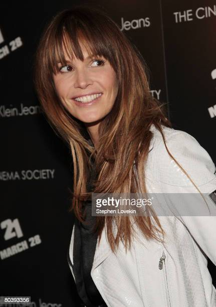 Model Elle Macpherson attends a screening of 21 hosted by The Cinema Society and Calvin Klein Jeans at The IFC Center on March 26 2008 in New York...
