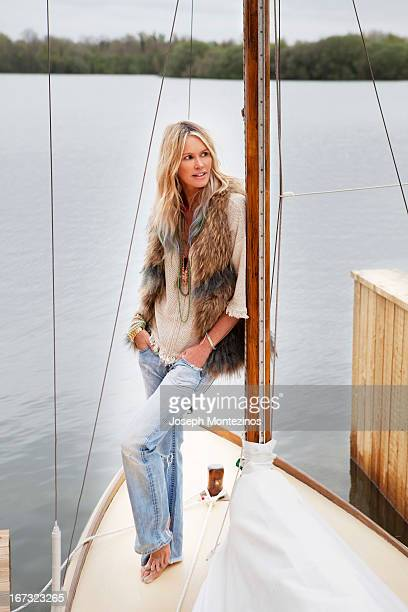Model Elle Macpherson is photographed at home for Yoo Magazine on May 3 2012 in Cotswolds England