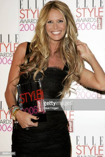 Model Elle MacPherson poses backstage in the Awards Room with the award for Style Icon at the ELLE Style Awards 2006 the fashion magazine's annual...
