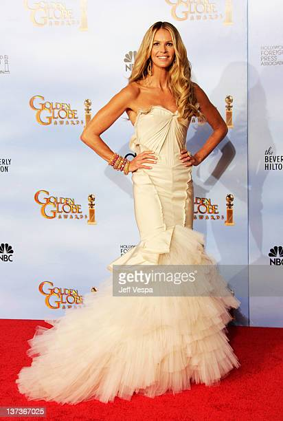 Model Elle Macpherson poses in the press room at the 69th Annual Golden Globe Awards held at the Beverly Hilton Hotel on January 15 2012 in Beverly...