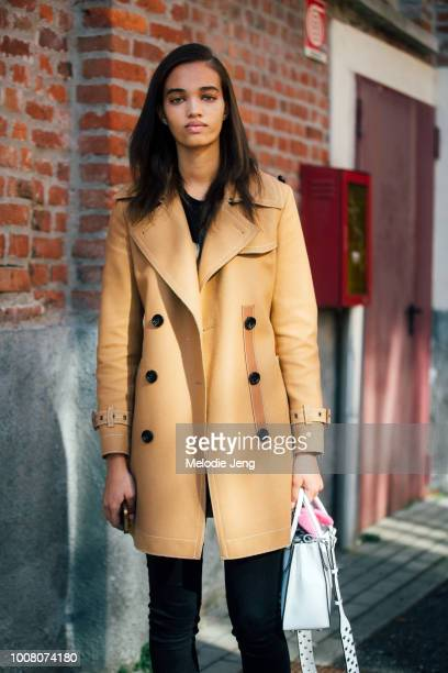 Model Ellen Rosa in a camel peacot during Milan Fashion Week Fall/Winter 2017/18 on February 25, 2017 in Milan, Italy.