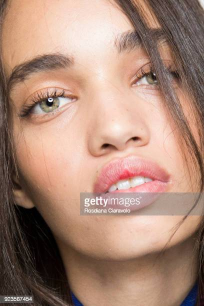 Model Ellen Rosa is seen backstage ahead of the Blumarine show during Milan Fashion Week Fall/Winter 2018/19 on February 23, 2018 in Milan, Italy.