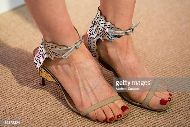 Model Ellie Kemper shoe detail attends the Lilly Pulitzer for Target Launch at Bryant Park Grill on April 15 2015 in New York City