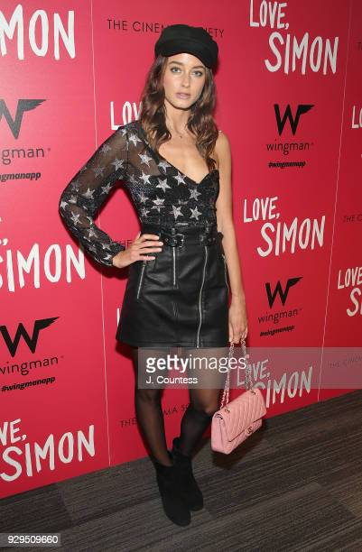 Model Ellinor Sandborg poses for a photo at the screening of 'Love Simon' hosted by 20th Century Fox Wingman at The Landmark at 57 West on March 8...