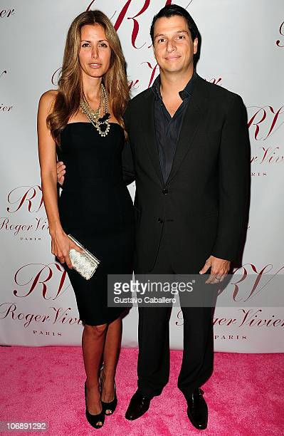 Model Elsa Benitez and Alejandro Grimaldi attend the Roger Vivier boutique opening party at Bal Harbour Shops on December 1 2009 in Miami Florida