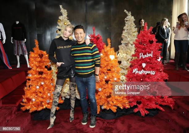 Model Elsa Hosk and fashion designer Prabal Gurung attend the Prabal Gurung Mastercard event celebrating the Love Is Love Collection at Spring Place...