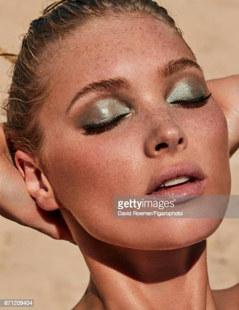 Model Elsa Hosk is photographed for Madame Figaro on February 18, 2017 on Saint Barthelemy. Make-up by Urban Decay. PUBLISHED IMAGE. CREDIT MUST...