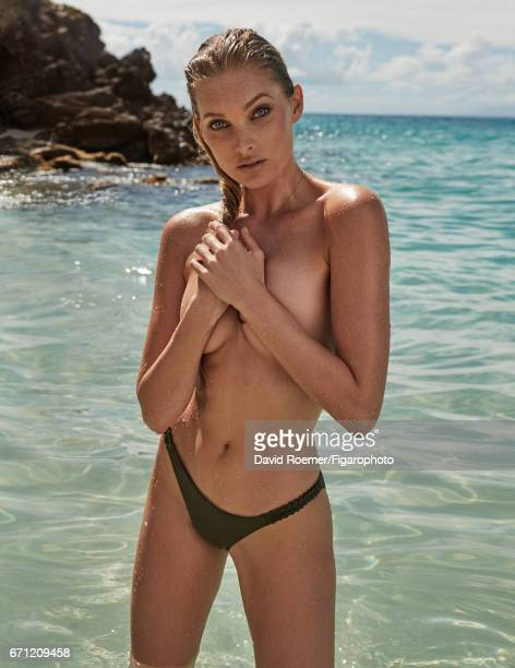 Model Elsa Hosk is photographed for Madame Figaro on February 18 2017 on Saint Barthelemy Beauty by Biotherm Bikini bottoms necklace PUBLISHED IMAGE...