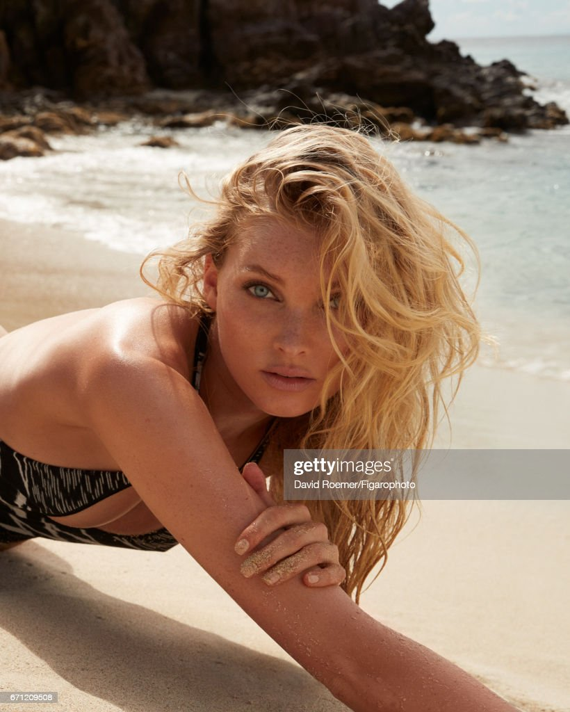 Model Elsa Hosk is photographed for Madame Figaro on February 18, 2017 on Saint Barthelemy. Beauty by Biotherm. Swimsuit (Missoni), necklace (Ginette NY).