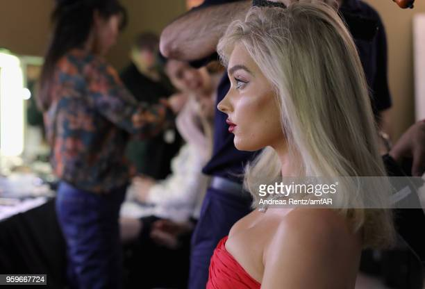 Model Elsa Hosk is seen backstage at the amfAR Gala Cannes 2018 at Hotel du CapEdenRoc on May 17 2018 in Cap d'Antibes France