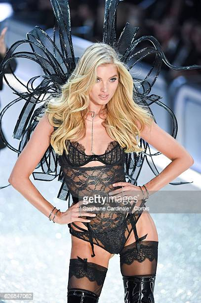 Model Elsa Hosk walks on the runway for the 2016 Victoria's Secret fashion show at Le Grand Palais on November 30 2016 in Paris France
