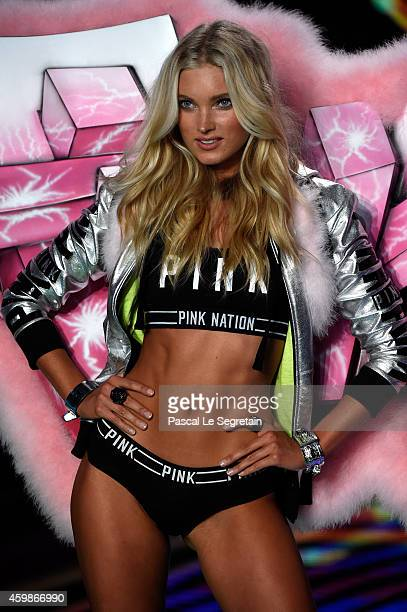Model Elsa Hosk walks the runway at the annual Victoria's Secret fashion show at Earls Court on December 2 2014 in London England