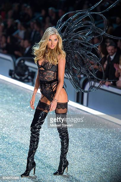 Model Elsa Hosk walks the runway during the 2016 Victoria's Secret Fashion Show at Le Grand Palais in Paris on November 30 2016 in Paris France