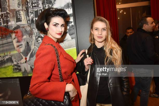 Model Elsa Oesinger and Carole Duchene attend Maurice Renoma Tribute to Street Art Preview at Espace Bernard Palissy on March 07 2019 Boulogne...
