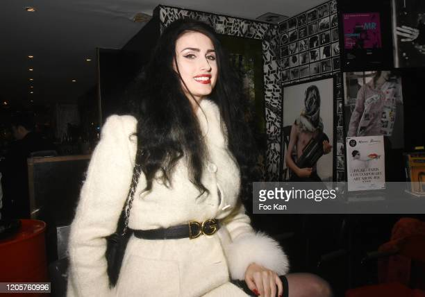 Model Elsa Oesinger attends the Apero Catalan Hosted by Technikart And Grand Seigneur Magazines At Cafe Renoma on February 11 2020 in Paris France